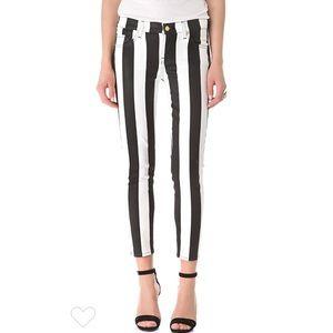 7FAM Coated Striped Cigarette Jeans in B&W